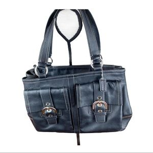 Coach Soho Leather Double Pocket Satchel Carryall